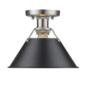 Orwell Pewter One-Light Flush Mount with Black Shade
