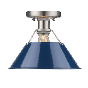 Orwell Pewter One-Light Flush Mount with Navy Blue Shade