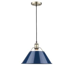 Orwell Aged Brass One-Light Pendant with Navy Blue Shade