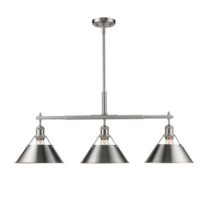 Orwell Pewter Three-Light Linear Pendant with Pewter Shades