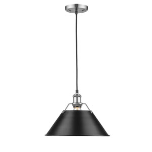 Orwell Pewter One-Light Pendant with Black Shade