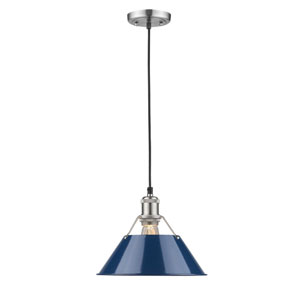 Orwell Pewter 10-Inch One-Light Mini Pendant with Navy Blue Shade