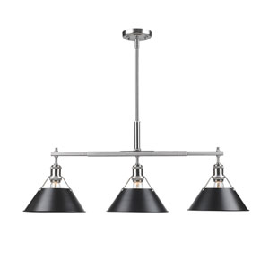 Orwell Pewter Three-Light Linear Pendant with Black Shades