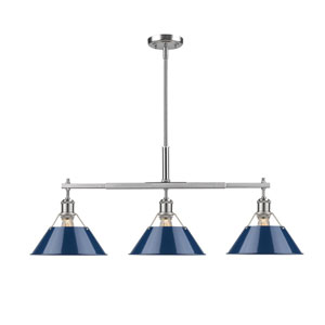 Orwell Pewter Three-Light Linear Pendant with Navy Blue Shades