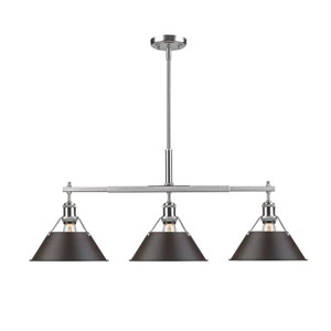 Orwell Pewter Three-Light Linear Pendant with Rubbed Bronze Shades