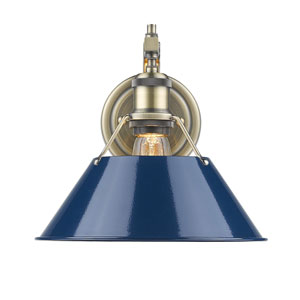 Orwell Aged Brass One-Light Wall Sconce with Navy Blue Shade