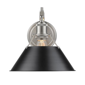 Orwell Pewter One-Light Wall Sconce with Black Shade