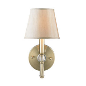 Waverly Antique Brass One-Light Wall Sconce with Silken Parchment Shade