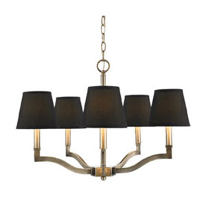 Waverly Antique Brass Five-Light Chandelier with Tuxedo Shade