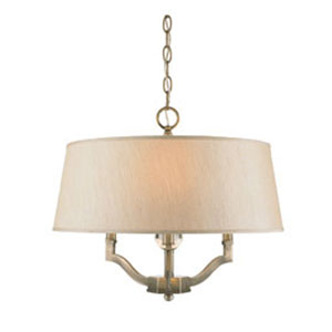 Waverly Antique Brass Convertible Semi-Flush with Silken Parchment Shade