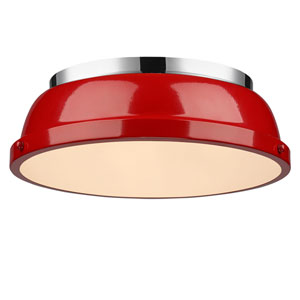 Duncan Red and Chrome Two-Light Flush Mount