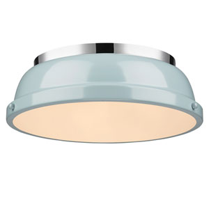 Duncan Seafoam and Chrome Two-Light Flush Mount