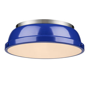 Duncan Blue and Pewter Two-Light Flush Mount