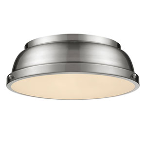 Duncan Pewter Two-Light Flush Mount