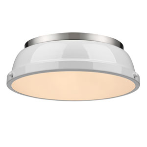 Duncan White and Pewter Two-Light Flush Mount