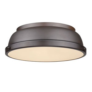 Duncan Rubbed Bronze Two-Light Flush Mount