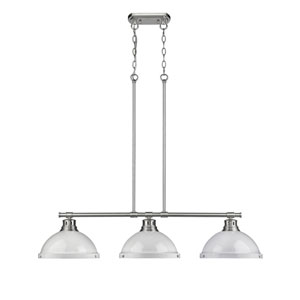 Duncan Pewter Three-Light Island Pendant with White Shades