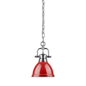 Duncan Chrome One-Light Mini Pendant with Chain and Red Shade