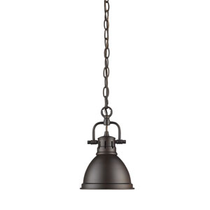 Duncan Rubbed Bronze One-Light Mini Pendant with Chain and Rubbed Bronze Shade