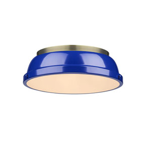 Duncan Aged Brass Two-Light Flush Mount with Blue Shades