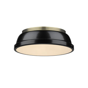 Duncan Aged Brass Two-Light Flush Mount with Black Shades