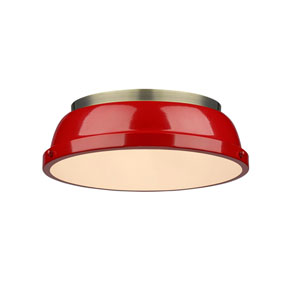 Duncan Aged Brass Two-Light Flush Mount with Red Shades