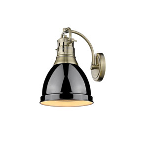 Duncan Aged Brass One-Light Wall Sconce with Black Shade