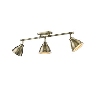 Duncan Aged Brass Three-Light Semi-Flush Mount with Aged Brass Shades