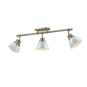 Duncan Aged Brass Three-Light Semi-Flush Mount with Seafoam Shades
