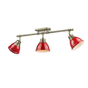 Duncan Aged Brass Three-Light Semi-Flush Mount with Red Shades
