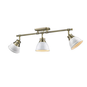 Duncan Aged Brass Three-Light Semi-Flush Mount with White Shades