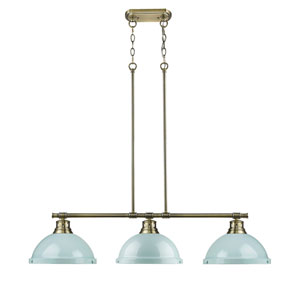 Duncan Aged Brass Three-Light Linear Pendant with Seafoam Shades