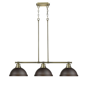 Duncan Aged Brass Three-Light Linear Pendant with Rubbed Bronze Shades