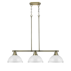 Duncan Aged Brass Three-Light Linear Pendant with White Shades