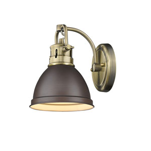 Duncan Aged Brass One-Light Bath Vanity with Rubbed Bronze Shade