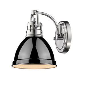 Duncan Chrome One-Light Vanity Fixture with Black Shade