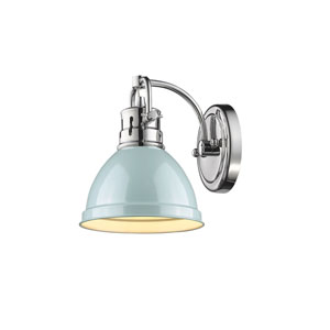 Duncan Chrome One-Light Vanity Fixture with Seafoam Shade