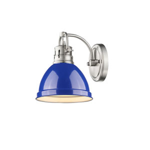Duncan Pewter One-Light Vanity Fixture with Blue Shade