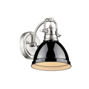 Duncan Pewter One-Light Vanity Fixture with Black Shade