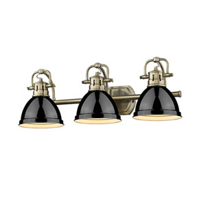 Duncan Aged Brass Three-Light Bath Vanity with Black Shades