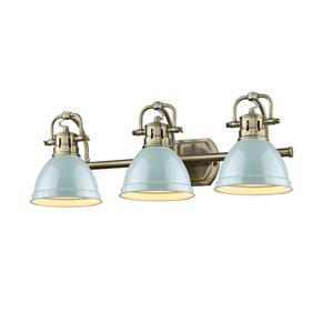 Duncan Aged Brass Three-Light Bath Vanity with Seafoam Shades