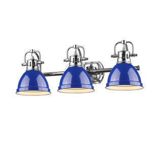 Duncan Chrome Three-Light Vanity Fixture with Blue Shade