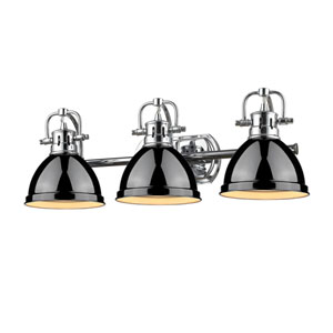 Duncan Chrome Three-Light Vanity Fixture with Black Shade