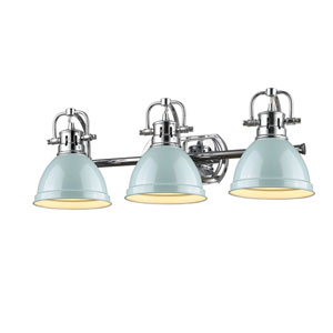 Duncan Chrome Three-Light Vanity Fixture with Seafoam Shade