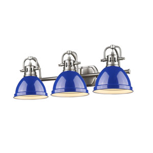 Duncan Pewter Three-Light Vanity Fixture with Blue Shade