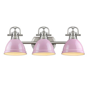 Duncan Pewter Three-Light Bath Vanity with Pink Shades