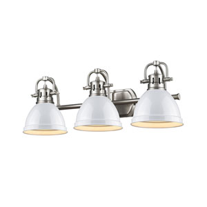 Duncan Pewter Three-Light Vanity Fixture with White Shade