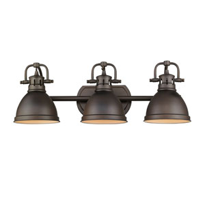 Duncan Rubbed Bronze Three-Light Vanity Fixture