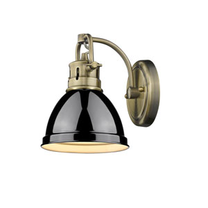 Duncan Aged Brass One-Light Bath Vanity with Black Shade