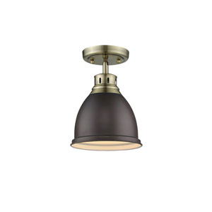 Duncan Aged Brass One-Light Flush Mount with Rubbed Bronze Shade
